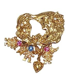 KIRKS FOLLY GOLD TONE MOTHER BROOCH WITH CHARMS